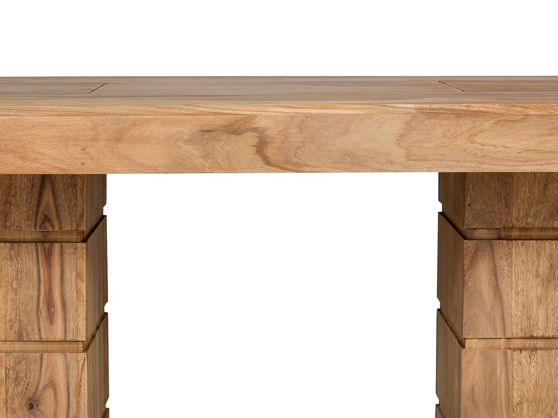 Massivum Motala Esstisch Säule, Palisander / Holz, braun, 100 x 300 ...
