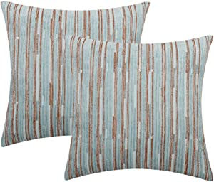 Yeiotsy Pillow Cases Blue, Pack of 2, Decorative Throw Pillow Covers Striped Bohemia Couch Cushion Covers for Sofa Home Decor (Light Blue, 18 X 18 Inches)