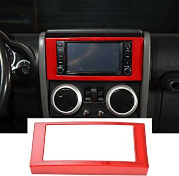 For Jeep Wrangler JK 2007-2010 Red Dashboard Decor Cover Trim Frame Accessories