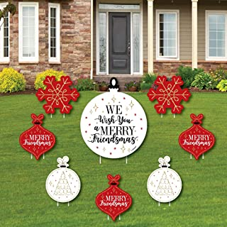 product image for Big Dot of Happiness Red and Gold Friendsmas - Yard Sign and Outdoor Lawn Decorations - Friends Christmas Party Yard Signs - Set of 8