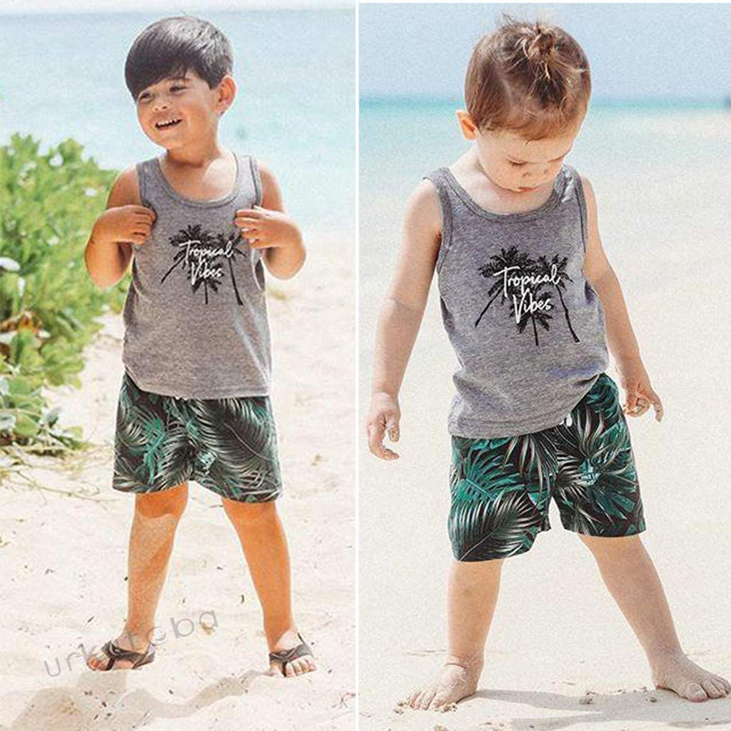 Palm Leaf Print Shorts Summer Clothes Toddler Baby Boys Sleeveless Tropical Vibes Letter Tank Tops