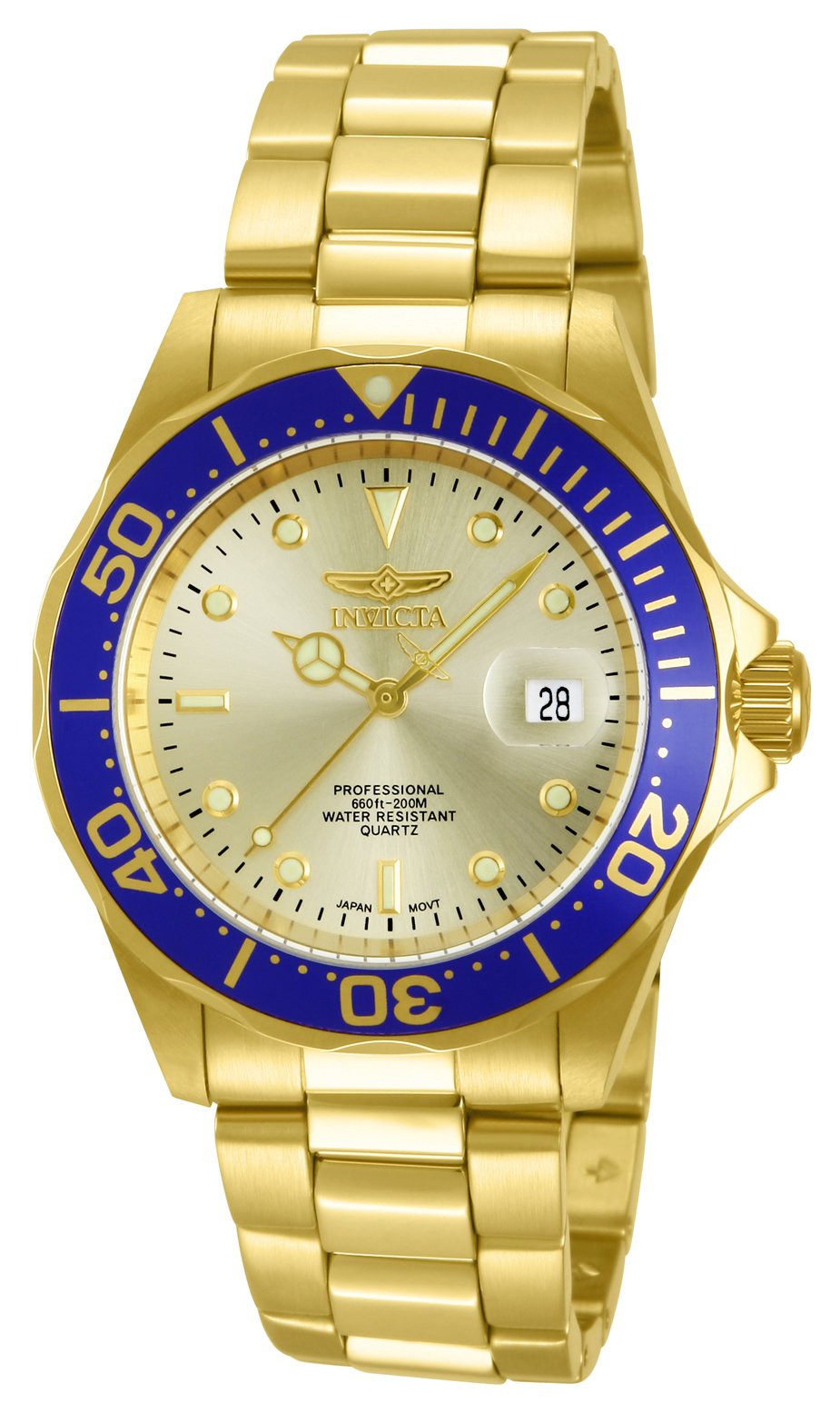 Invicta Men's 14124 Pro Diver Gold Dial 18k Gold Ion-Plated Stainless Steel Watch