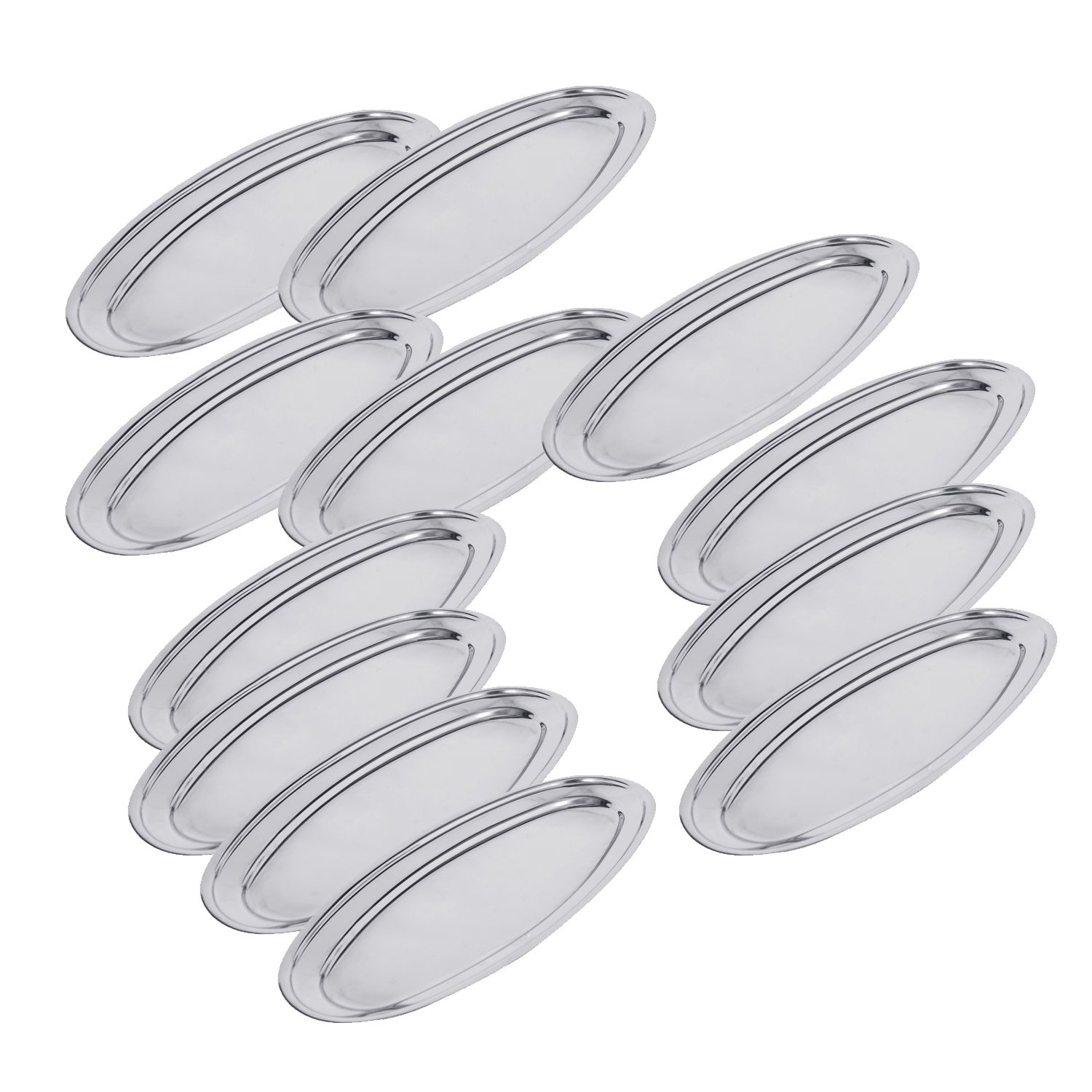 Meat Dish Serving Dish Kosma Set of 12 Stainless Steel Oval Plate Oval Tray Platter 20 cm Serving Tray Rice Plate Set