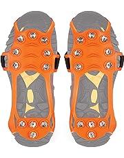 Wirezoll Steigeisen, Schuhe Spike mit 11 Edelstahl Zähne und Silikon Band Anti Rutsch auf EIS und Schnee für Wandern Bergschuhe Stiefel usw.