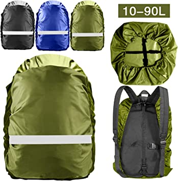 2 Pieces Waterproof Backpack Cover Camping Biking Backpack Rain Cover with Reflective Strip and Anti-Slip Buckles for Hiking Traveling 10L-65L