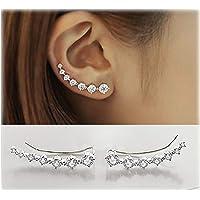 7 Cristales Ear Cuffs Hoop Climber S925 Sterling