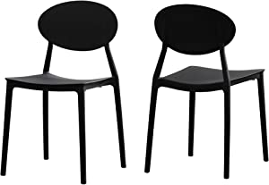 Great Deal Furniture Brynn Outdoor Plastic Chairs (Set of 2), Black