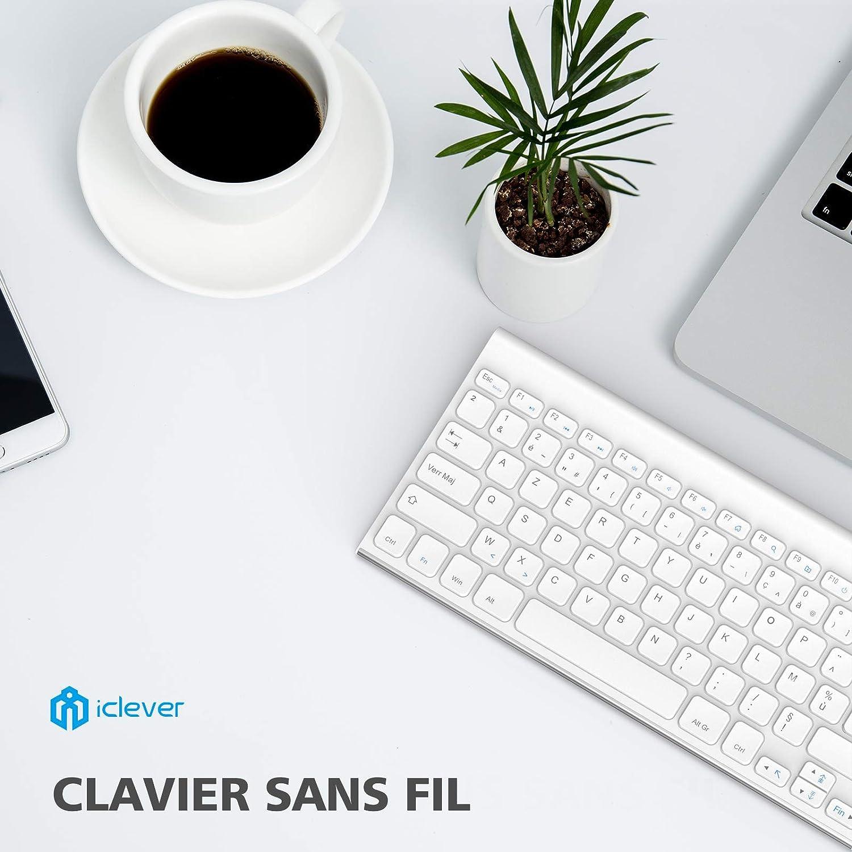 iClever - Teclado inalámbrico (teclado francés AZERTY) con Bluetooth para IOS (Mac), Windows, Android, Smartphone, ordenador, tablet, color blanco