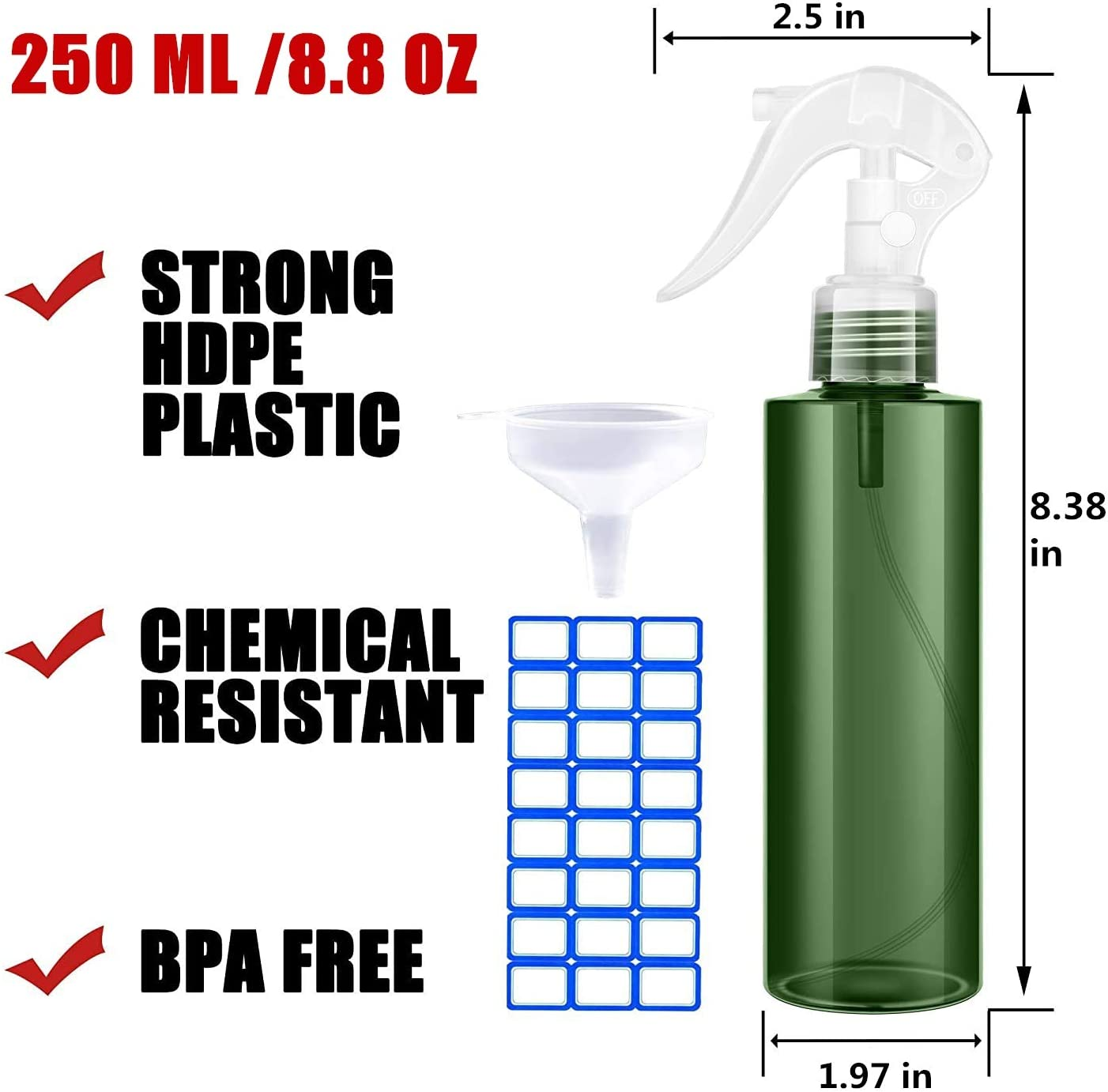 HighHerz 2 Pack Empty Hair Spray Bottle Mist Mode 250ml With Funnel & Lables, For Water | Plant | Cleaning, Blue Green