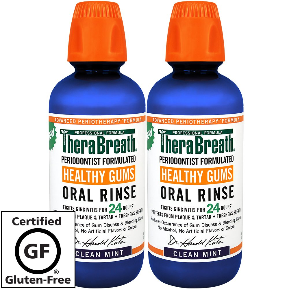 TheraBreath – Healthy Gums Oral Rinse – Periodontist Formulated – 24-Hour Formula – Healthy Gums – Treatment for Gingivitis – Added CPC – 16 Ounces – Two-Pack