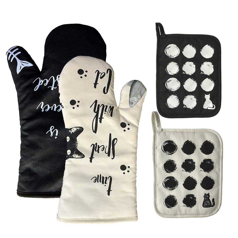 AIYUE [Upgraded Version] Oven Mitts and Pot Holders - Long Sleeves Heat Resistant Silicone Oven Gloves with Soft Cotton Infill Non-Slip Cooking Gloves for Kitchen Cooking Baking BBQ Grilling