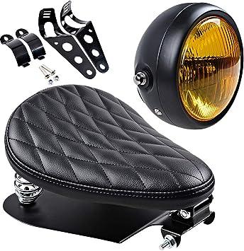 Black Metal Headlight Amber Lens For Harley Sportster Bobber Chopper Custom