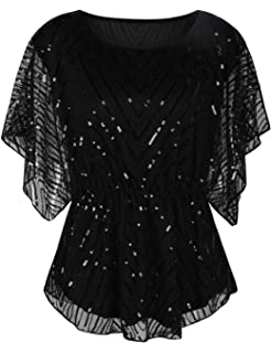 8332adeaf46484 kayamiya Women's Sequin Blouse Glitter Beaded Party Wedding Evening Tunic  Tops