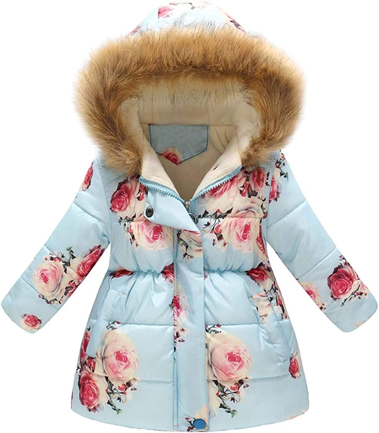 Girls-Boys-Baby Cute Floral Thick Warm Jacket Windproof Coat Overcoat