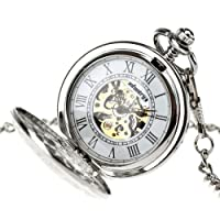 INFANTRY Mens Silver Pocket Watch Windup Mechanical Pocket Watches for Men with Chain