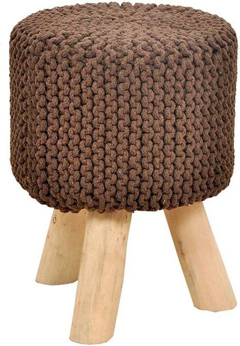 Sitzhocker Strick Hocker Pouf Schemel mit Holzfüßen Ø 35 cm Höhe 45 cm Farbe Zimt