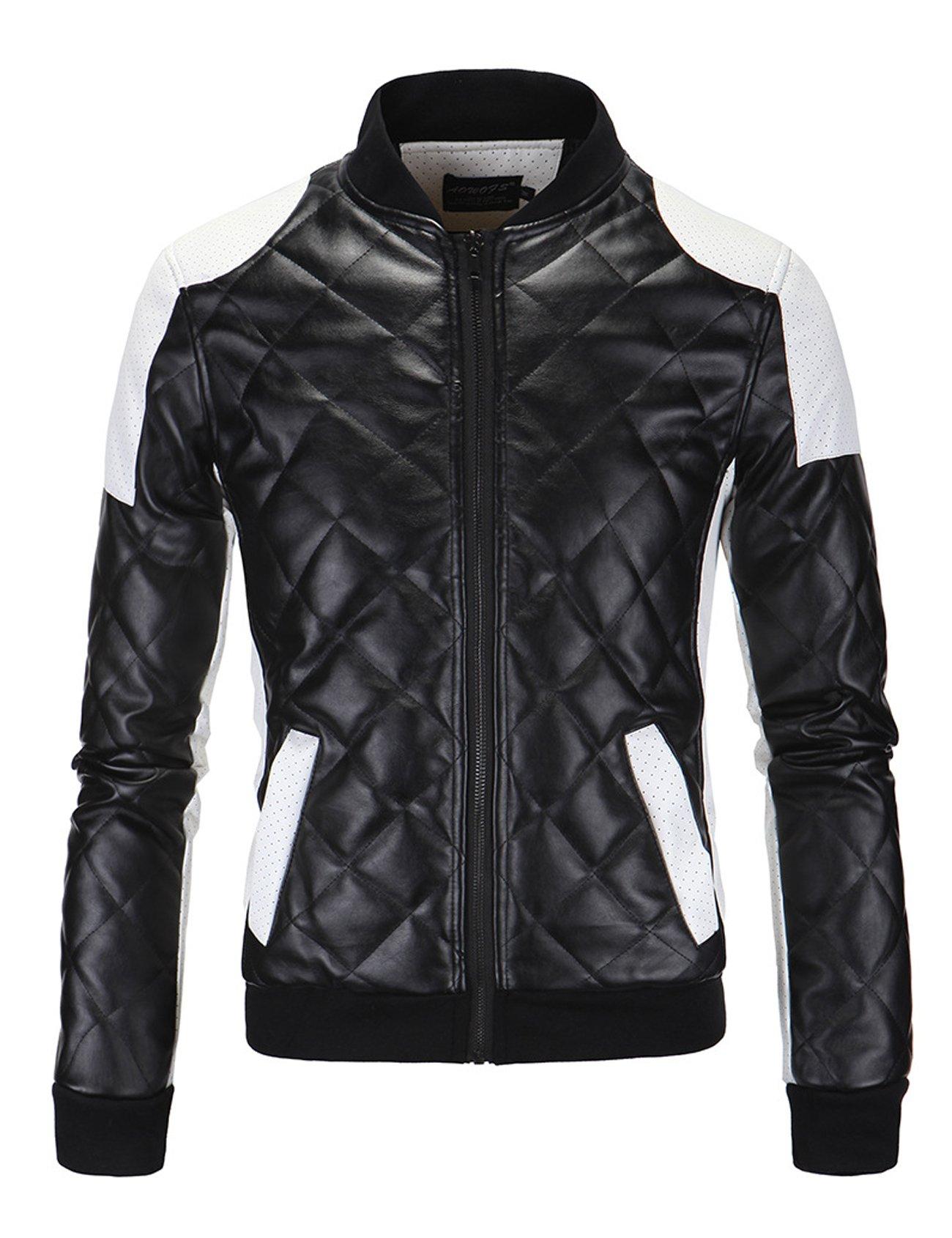 Letuwj Mens Bomber Jacket Stand Collar PU Leather Coat Black X-Large