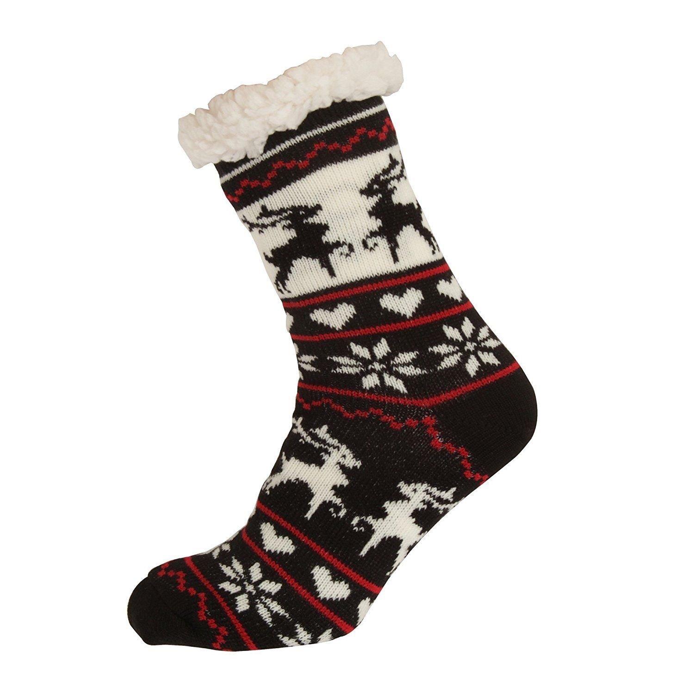 Ladies Non-slip grippy Christmas Fairisle Slipper SocksGirls Novelty Co-Zees Thermal Insulated Snowman Print Sherpa Socks