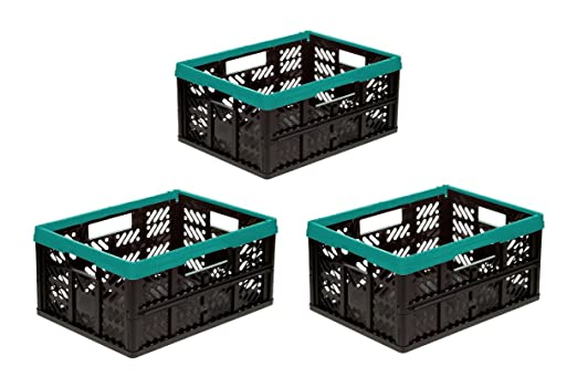 3 x caja plegable, 32 L turquesa/negro plegable caja caja de ...