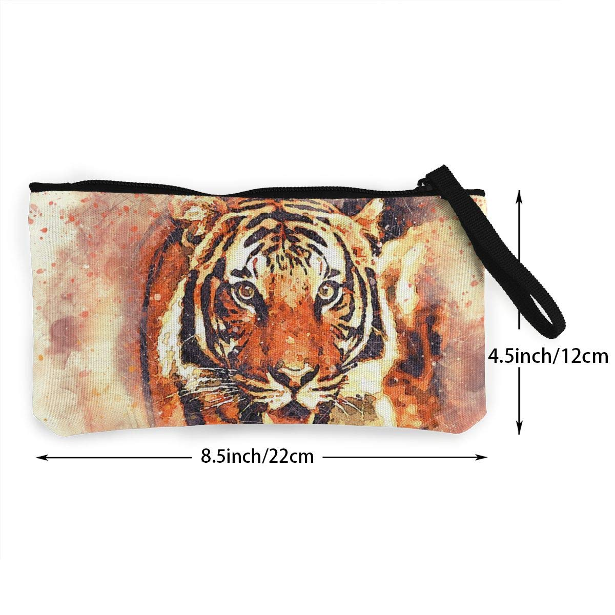 Novelty Ferocious Tigers 3D Graphic Printing Multi-Functional Canvas Coin Purse