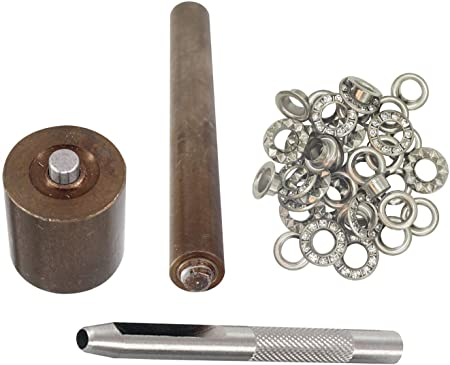 6mm 100pcs Eyelets with Washers Iron Grommet for Repair Leathercrafts Belts Bags