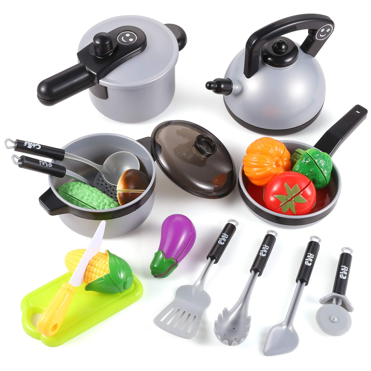 EFOSHM Toy Kitchen-Cooking Toys-Kitchen Playset-Kids Cookware with Healthy Cutting Vegetables, Knife, Cutting Board, Utensils Toy Kitchen Accessories for 3, 4,5, 6 Years Old Girls, Boys, Toddlers