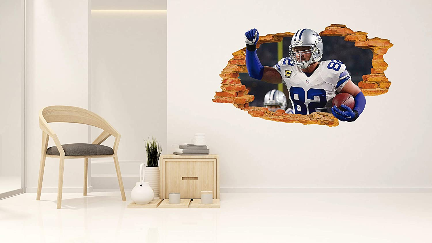 Wall Decal Home Bedroom Decoration 3D Smashed Wall Effect Jason Witten Dallas Cowboys Wide 20x11 Height inches