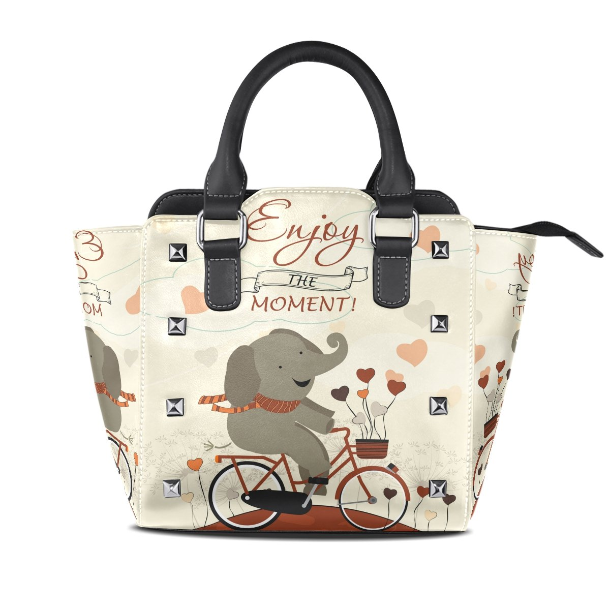Womens Genuine Leather Hangbags Tote Bags Cute Elephant Purse Shoulder Bags