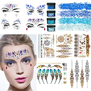 Rhinestone Tattoo Jewel Temporary Stickers - 4 Sets Mermaid Face Gems  Rhinestone Sticker 05b5a12c495b