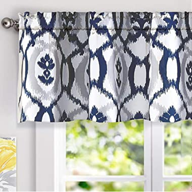 DriftAway Evelyn Ikat fleur/Floral Pattern Window Curtain Valance, 52 x18 (Navy Blue)