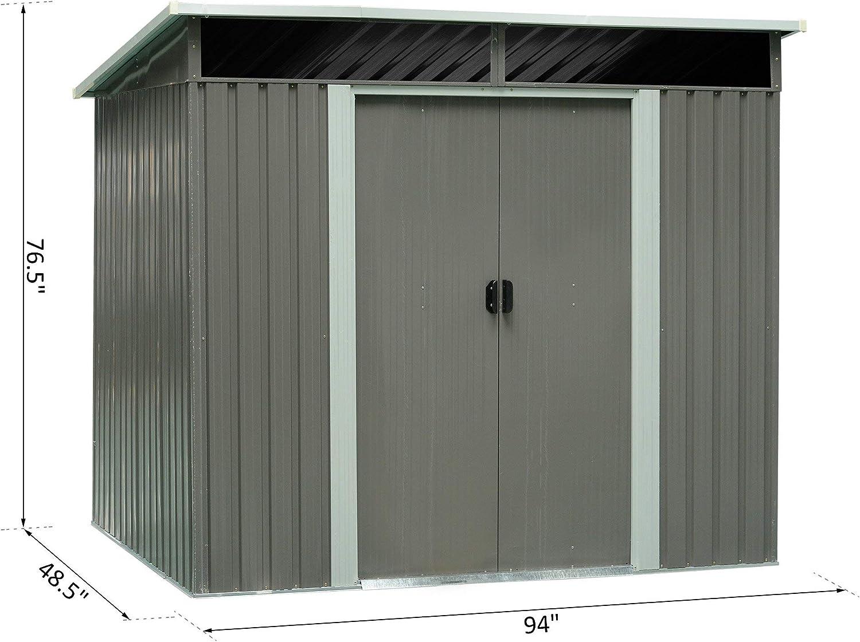 Festnight cobertizo de acero para jardín con puertas correderas dobles, 4 x 7.8 pies: Amazon.es: Juguetes y juegos