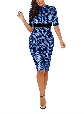 Amzbeauty Half Sleeve Bodycon Midi Dress For Women Formal Knee