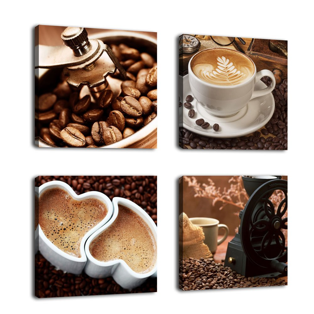 """Kitchen Canvas Wall Art Coffee Bean Coffee Cup Coffee Grinder Canvas Pictures Large Modern Artwork Prints for Dining Room Home Decorations 16"""" x 16"""" x 4 Pieces Framed Ready to Hang"""