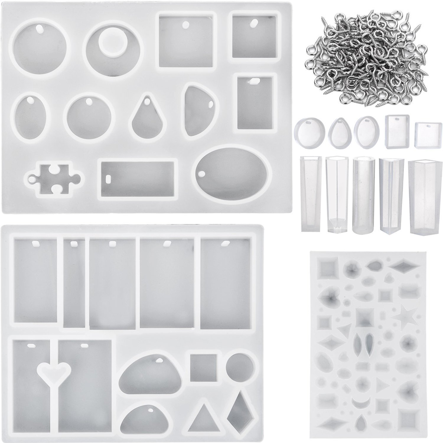 13 Pieces Assorted Designs Resin Casting Molds Silicone Jewelry Making Molds Set with 100 Pieces Mini Screw Eye Pins for Jewelry Pendants DIY KisSealed Jewelry-13