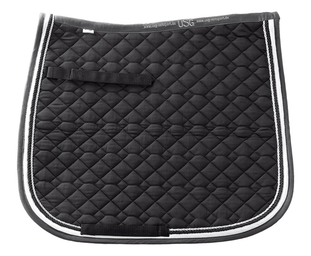 USG Dressage Quillted Saddle Cloth with Double Rope Piping, Full, Black  Ecru  Grey with Border, Black  Ecru
