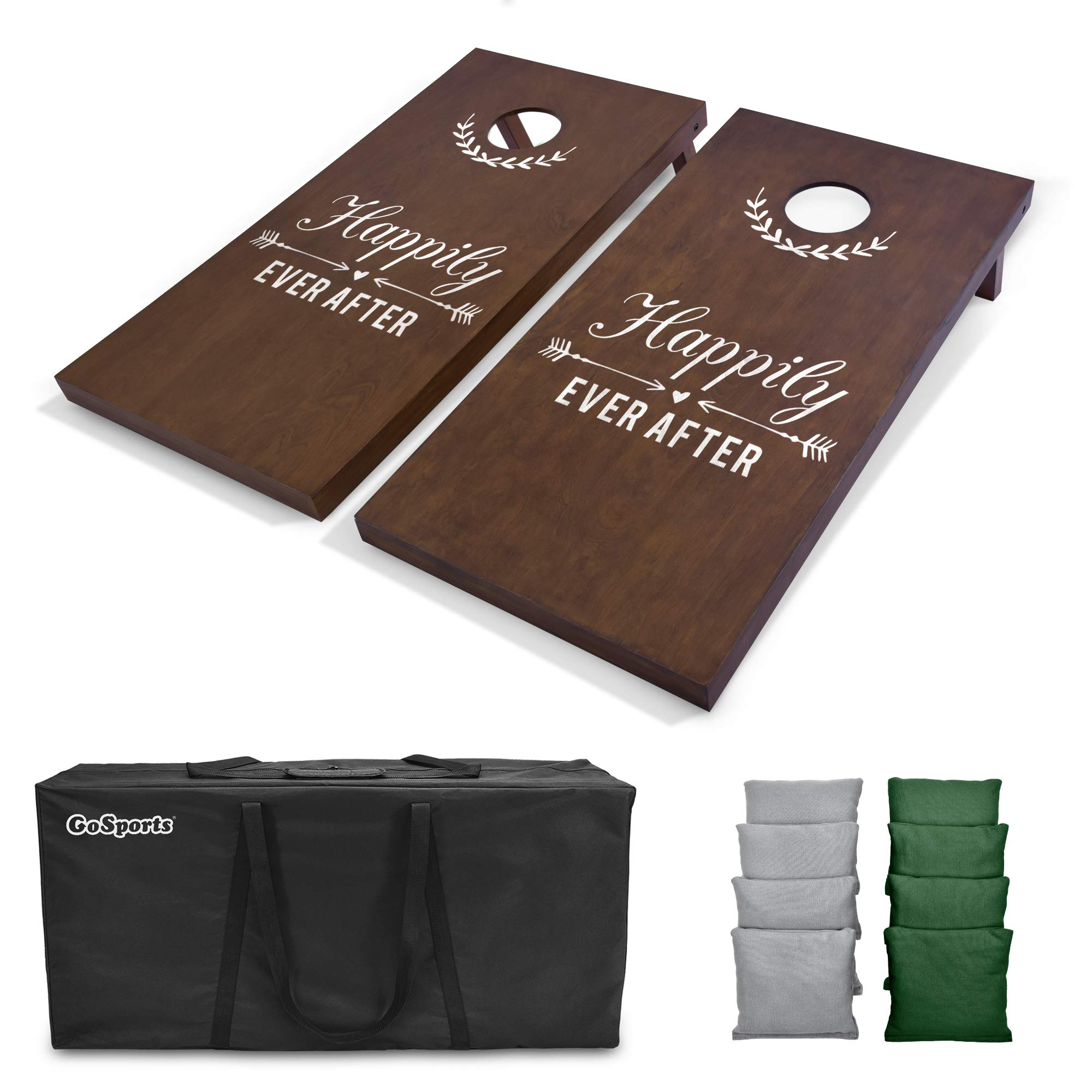 GoSports Wedding Cornhole Set   Regulation 4'x2' Size  Solid Stained Wood with Carrying Case and Bean Bags (Choose Your Colors) - Match The Wedding Theme!