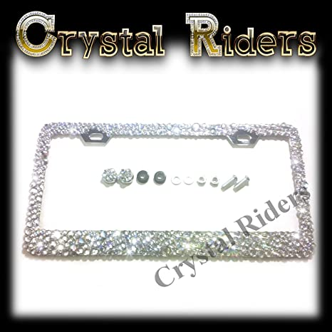 Amazon.com: Bling License Plate Frame with Small Crystal Mix Ab ...