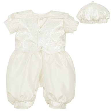 51db927bb Image Unavailable. Image not available for. Colour: ShineGown Infant Baby  Boys' Short Baptism Christening Outfit with Lace Waistcoat 0-24months Romper