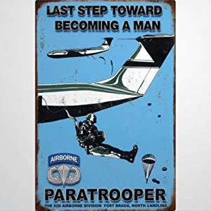 BYRON HOYLE Paratrooper 82nd Airborne Metal Sign,Vintage Tin Plaque,Yard Sign Wall Hanging Art,Rustic Wall Decor for Home Garage Coffee Bar Pub Farmhouse Living Room