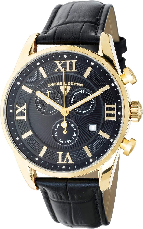 Swiss Legend Belleza 22011-YG-01-BLK - Reloj analógico de Cuarzo Suizo para Hombre, Acero Inoxidable Dorado con Correa de Piel Negra