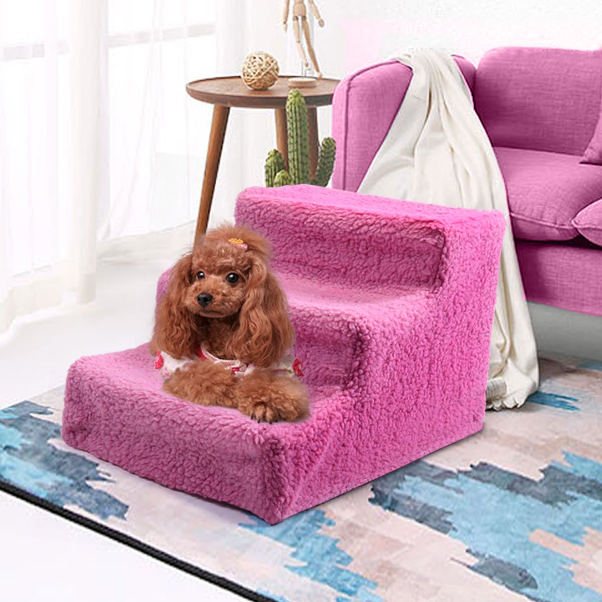 Tobbi Pet Stairs 3 Steps Indoor Dog Cat Steps Removable Washable Pets Ramp Ladder Pink by Tobbi (Image #5)