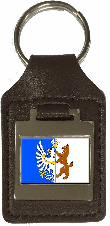 Leather Keyring Engraved Kladno City Czech Republic Flag