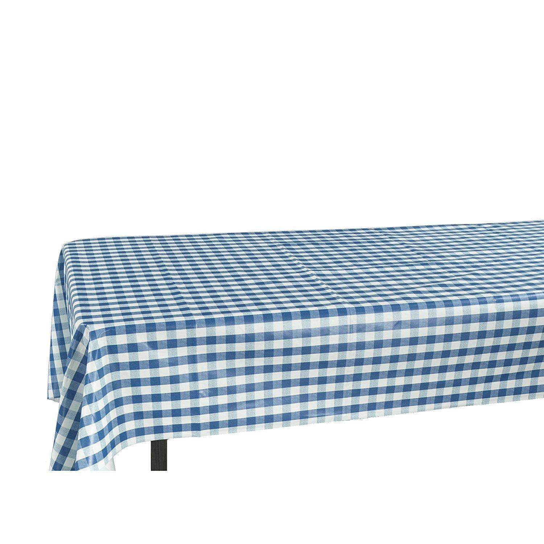 Amazon.com: Berrnour Home Vinyl Tablecloth Blue Checkered Design ...