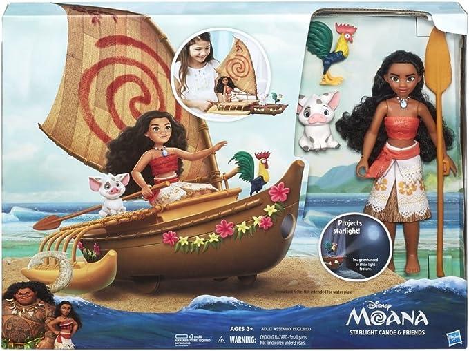 Disney Moana Starlight Projector Canoe and Friends Heihei /& Pua Toy Sail Boat