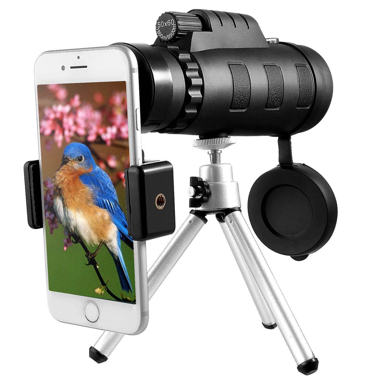 Monocular Telescope, Esolom 50X60 High Power HD Monocular with Smartphone Holder & Tripod - [Upgrade] Waterproof Monocular with Durable and Clear FMC BAK4 Prism Dual Focus for Bird Watching, Camping by ESOLOM
