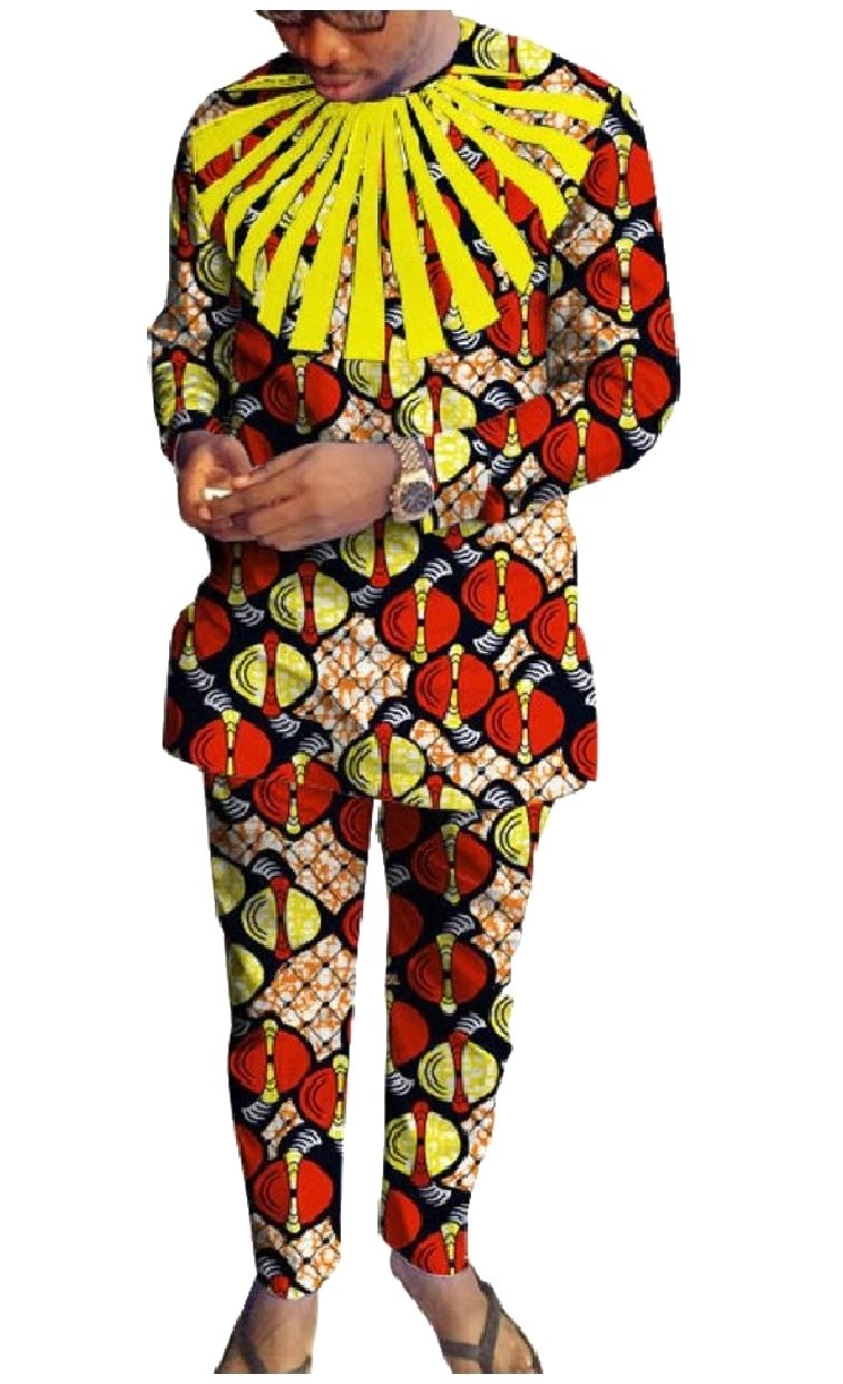 Abetteric Mens African Printed Dashiki Fine Cotton Pants with Tops Sets 9 3XL by Abetteric (Image #2)