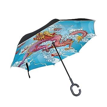 coosun dragón chino pintura doble capa paraguas invertido Reverse paraguas para coche y uso al aire