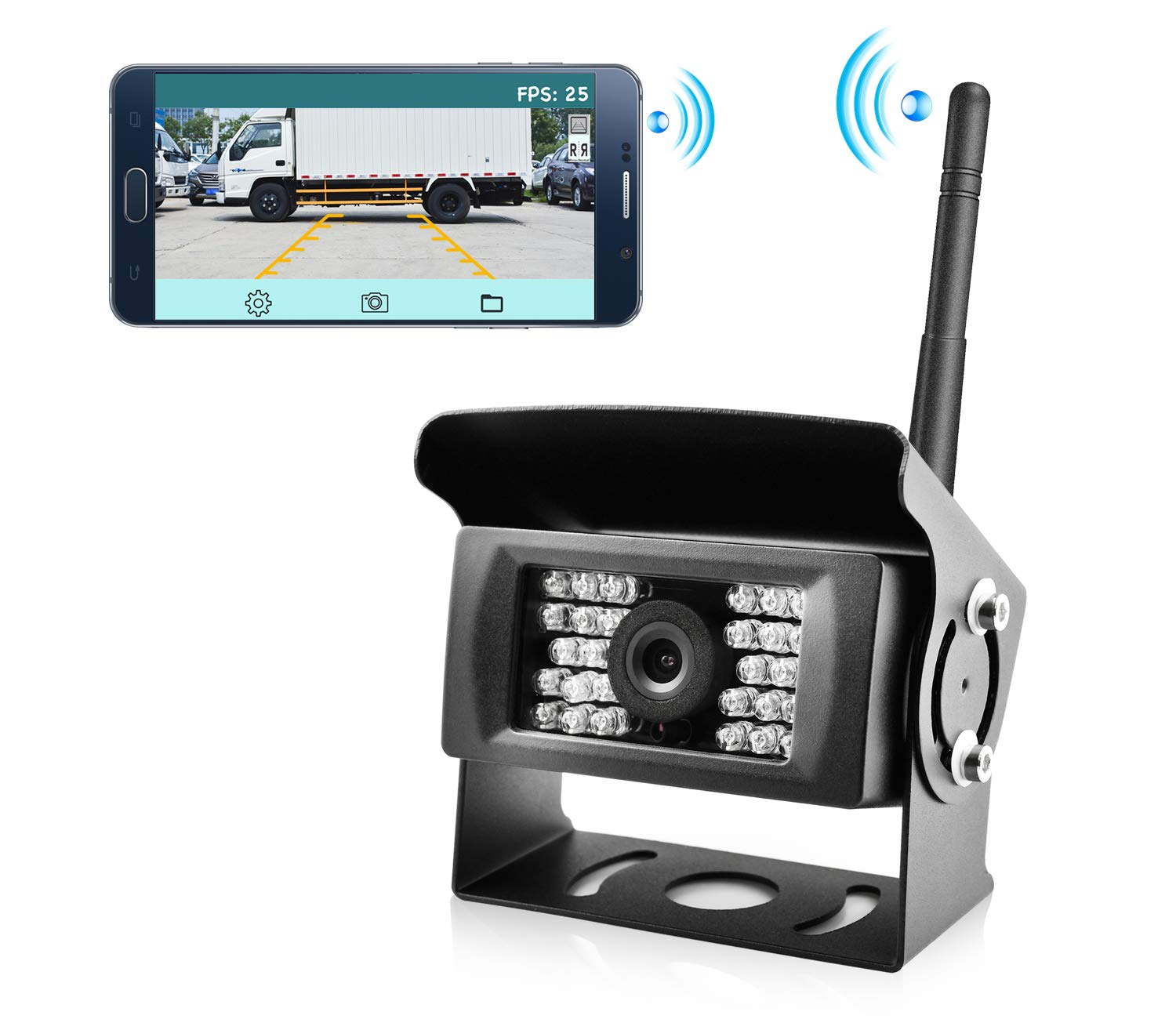Wireless Phone Backup Camera Reversing Camera for Trucks RV Trailers and Campers WiFi App Backup Camera Waterproof Rearview Camera Works with Smartphone, Tablet Android (Black)