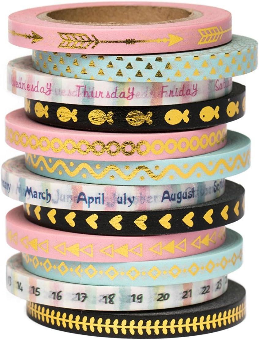 con lune pois stelline Nastro in carta Washi da 3/mm con graziosi motivi dorati e colori pastello lunghezza/5/m nuvole e cuori