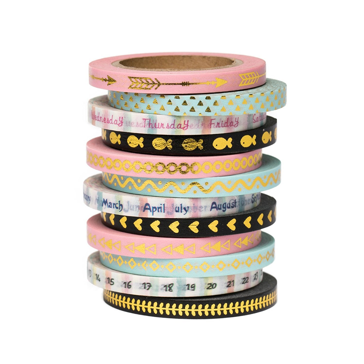12 Skinny Thin Narrow Washi Tapes Masking Tape 5mm x 10 Metres Rolls for Crafting susiebsupplies
